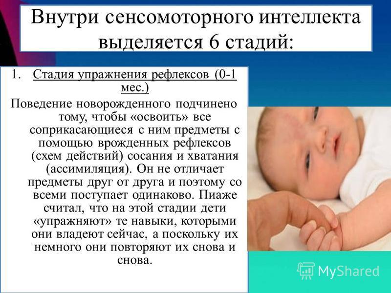 Внутри сенсомоторного интеллекта выделяется 6 стадий: 1. Стадия упражнения рефлексов (0-1 мес.) Поведение новорожденного подчинено тому, чтобы «освоить» все соприкасающиеся с ним предметы с помощью врожденных рефлексов (схем действий) сосания и хвата