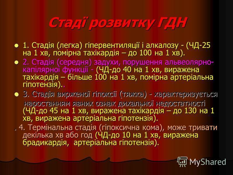 Стадї розвитку ГДН 1. Стадія (легка) гіпервентиляції і алкалозу - (ЧД-25 на 1 хв, помірна тахікардія – до 100 на 1 хв). 1. Стадія (легка) гіпервентиляції і алкалозу - (ЧД-25 на 1 хв, помірна тахікардія – до 100 на 1 хв). 2. Стадія (середня) задухи, п
