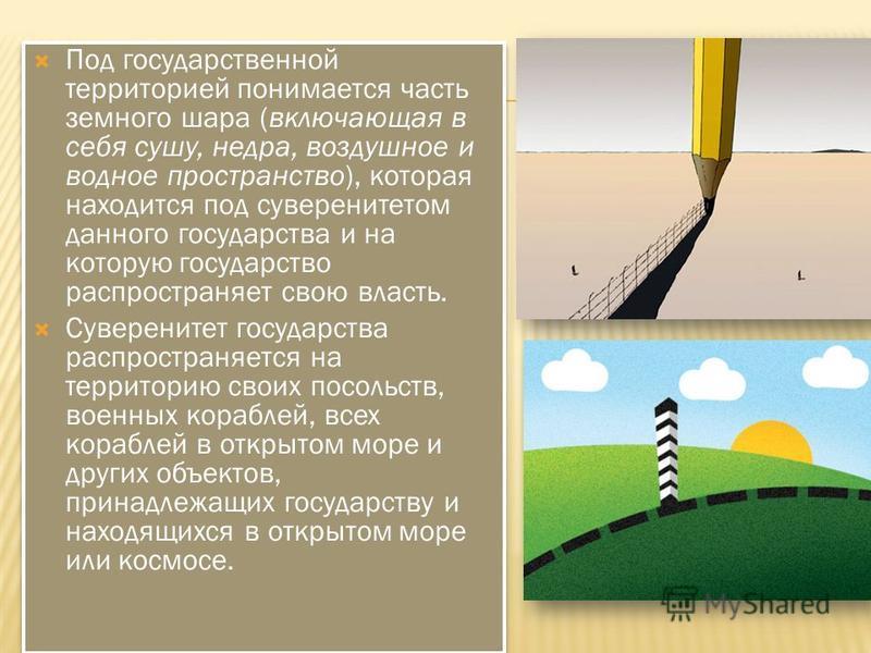 Под государственной территорией понимается часть земного шара (включающая в себя сушу, недра, воздушное и водное пространство), которая находится под суверенитетом данного государства и на которую государство распространяет свою власть. Суверенитет г