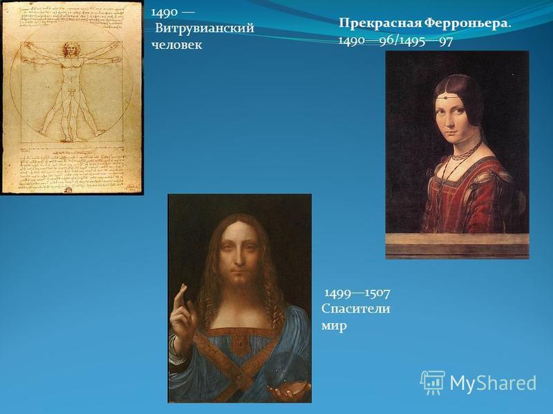1490 Витрувианский человсек Прекрасная Ферроньера. 149096/149597 14991507 Спасители мир