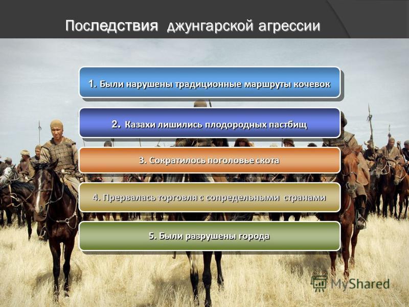 Пос ледствия джунгарской агрессии 1. Были нарушены традиционные маршруты кочевок 2. Казахи лишились плодородных пастбищ 3. Сократилось поголовье скота 4. Прервалась торговля с сопредельными странами 5. Были разрушены города