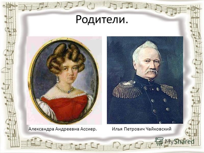 Родители. Илья Петрович Чайковский Александра Андреевна Ассиер.