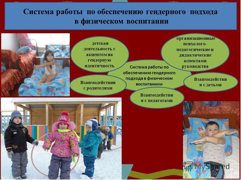 . Система работы по обеспечению гендерного подхода в физическом воспитании Система работы по обеспечению гендерного подхода в физическом воспитаниии детская деятельность с акцентом на гендерную идентичность организационные психолого- педагогические и
