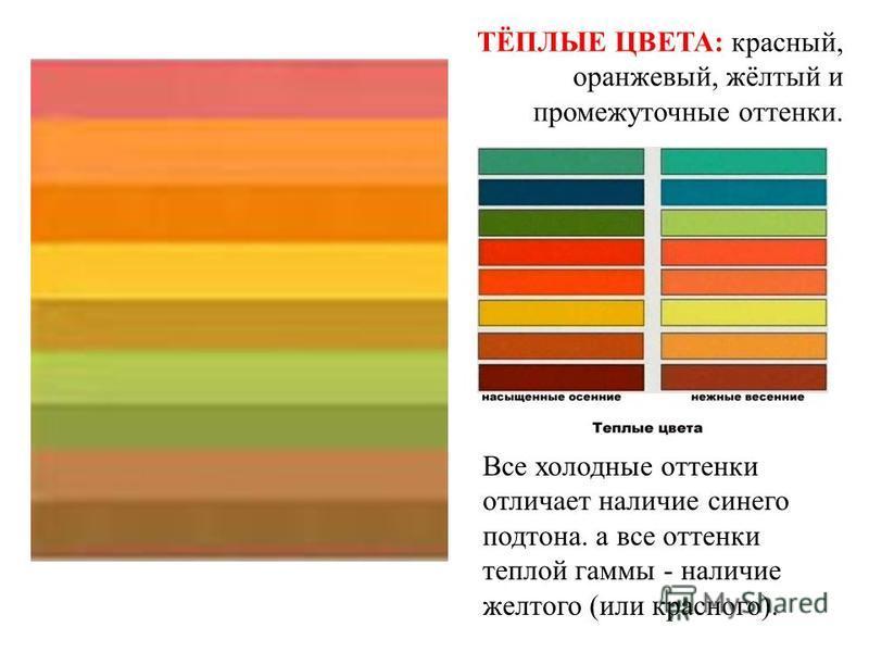ТЁПЛЫЕ ЦВЕТА: красный, оранжевый, жёлтый и промежуточные оттенки. Все холодные оттенки отличает наличие синего поддона. а все оттенки теплой гаммы - наличие желтого (или красного).