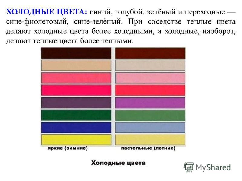 ХОЛОДНЫЕ ЦВЕТА: синий, голубой, зелёный и переходные сине-фиолетовый, сине-зелёный. При соседстве теплые цвета делают холодные цвета более холодными, а холодные, наоборот, делают теплые цвета более теплыми.