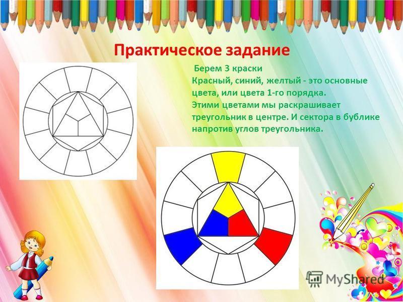 Практическое задание Берем 3 краски Красный, синий, желтый - это основные цвета, или цвета 1-го порядка. Этими цветами мы раскрашивает треугольник в центре. И сектора в бублике напротив углов треугольника.