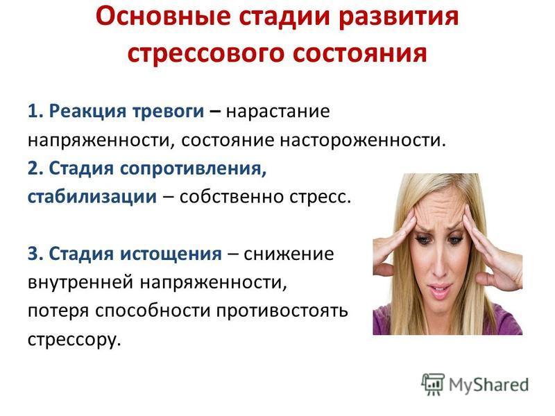 Основные стадии развития стрессового состояния 1. Реакция тревоги – нарастание напряженности, состояние настороженности. 2. Стадия сопротивления, стабилизации – собственно стресс. 3. Стадия истощения – снижение внутренней напряженности, потеря способ