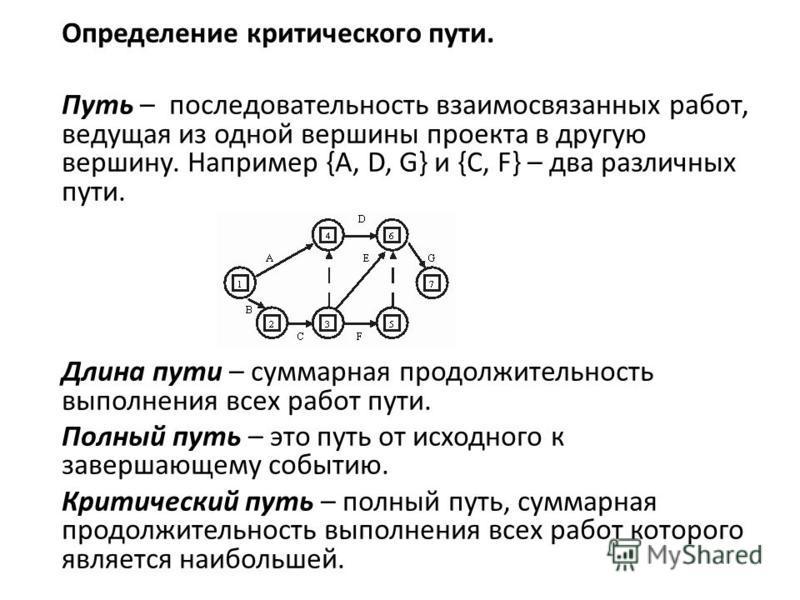 Определение критического пути. Путь – последовательность взаимосвязанных работ, ведущая из одной вершины проекта в другую вершину. Например {A, D, G} и {C, F} – два различных пути. Длина пути – суммарная продолжительность выполнения всех работ пути.