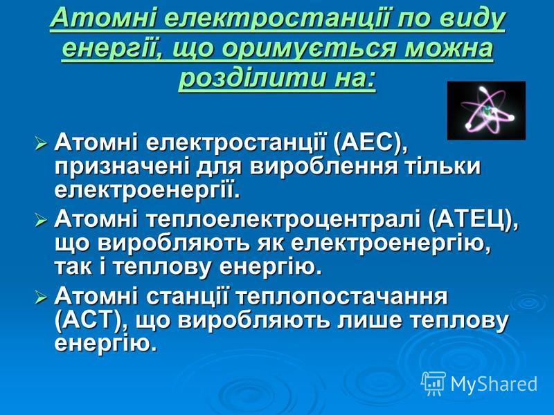Атомні електростанції (АЕС), призначені для вироблення тільки електроенергії. Атомні електростанції (АЕС), призначені для вироблення тільки електроенергії. Атомні теплоелектроцентралі (АТЕЦ), що виробляють як електроенергію, так і теплову енергію. Ат