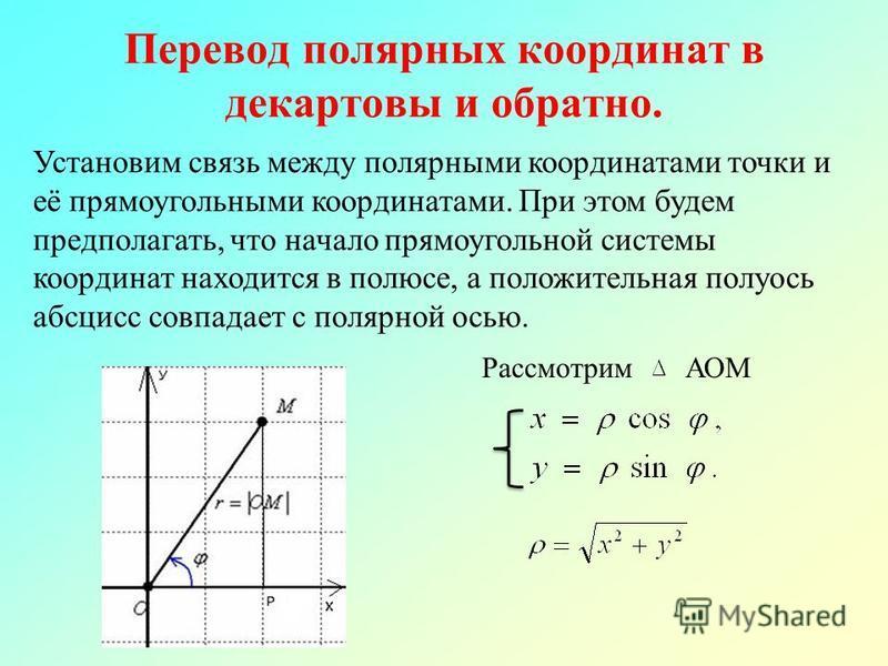 Перевод полярных координат в декартовы и обратно. Установим связь между полярными координатами точки и её прямоугольными координатами. При этом будем предполагать, что начало прямоугольной системы координат находится в полюсе, а положительная полуось