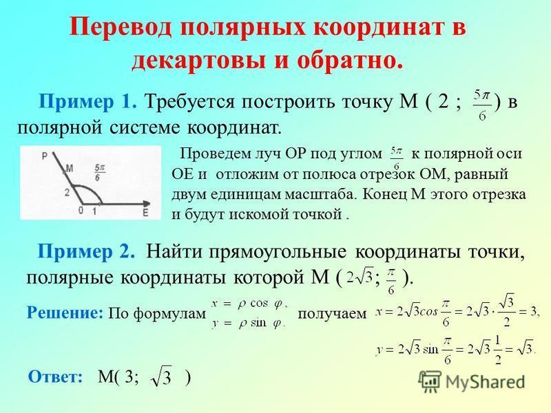 Перевод полярных координат в декартовы и обратно. Пример 1. Требуется построить точку М ( 2 ; ) в полярной системе координат. Проведем луч ОР под углом к полярной оси ОЕ и отложим от полюса отрезок ОМ, равный двум единицам масштаба. Конец М этого отр
