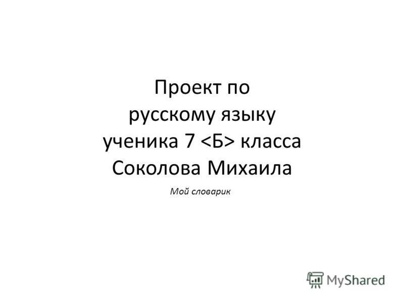 Проект по русскому языку ученика 7 класса Соколова Михаила Мой словарик