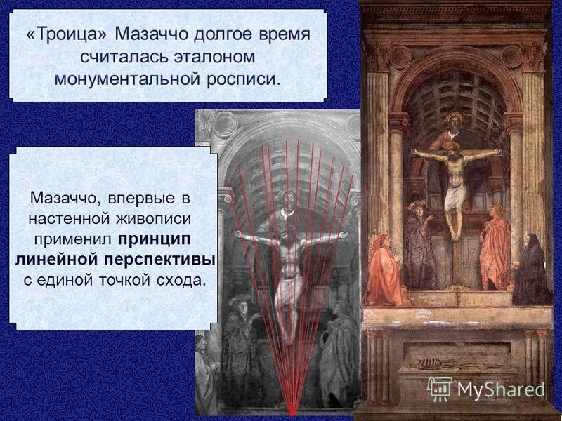 Мазаччо, впервые в настенной живописи применил принцип линейной перспективы с единой точкой схода. «Троица» Мазаччо долгое время считалась эталоном монументальной росписи.