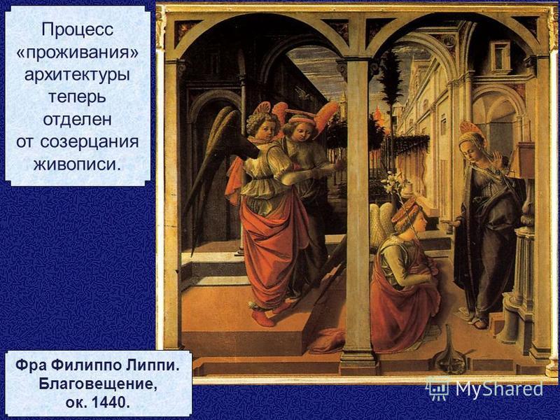Процесс «проживания» архитектуры теперь отделен от созерцания живописи. Фра Филиппо Липпи. Благовещение, ок. 1440.
