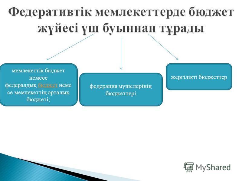 мемлекеттік бюджет немесе федералдық бюджет неме се мемлекеттің орталық бюджеті;бюджет федерация мүшелерінің бюджеттері жергілікті бюджеттер