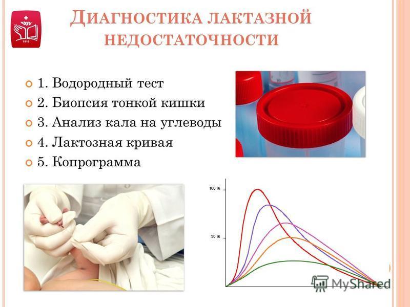 Д ИАГНОСТИКА ЛАКТАЗНОЙ НЕДОСТАТОЧНОСТИ 1. Водородный тест 2. Биопсия тонкой кишки 3. Анализ кала на углеводы 4. Лактозная кривая 5. Копрограмма