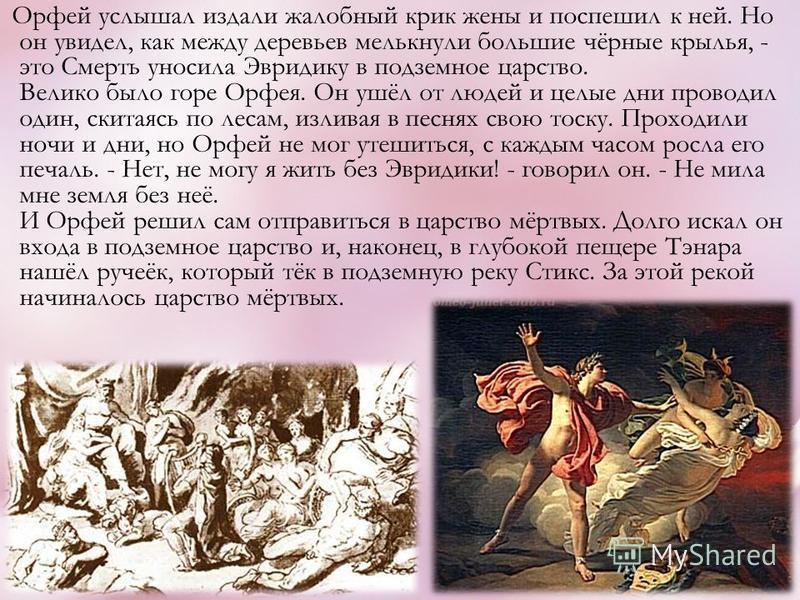 Орфей услышал издали жалобный крик жены и поспешил к ней. Но он увидел, как между деревьев мелькнули большие чёрные крылья, - это Смерть уносила Эвридику в подземное царство. Велико было горе Орфея. Он ушёл от людей и целые дни проводил один, скитаяс