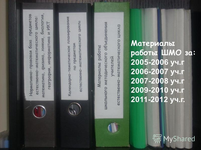 Материалы работы ШМО за: 2005-2006 уч.г 2006-2007 уч.г 2007-2008 уч.г 2009-2010 уч.г 2011-2012 уч.г.