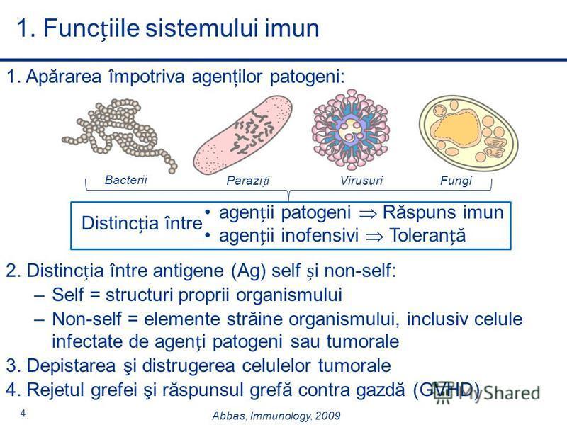 4 1. Apărarea împotriva agenţilor patogeni: 2. Distincia între antigene (Ag) self i non-self: –Self = structuri proprii organismului –Non-self = elemente străine organismului, inclusiv celule infectate de ageni patogeni sau tumorale 3. Depistarea şi