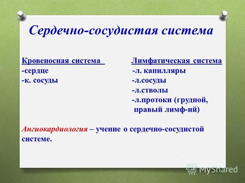 Cердечно-сосудистая система Кровеносная система Лимфатическая система -сердце -л. капилляры -к. сосуды -л.сосуды -л.стволы -л.протоки (грудной, правый лимф-ий) Ангиокардиология – учение о сердечно-сосудистой системе.