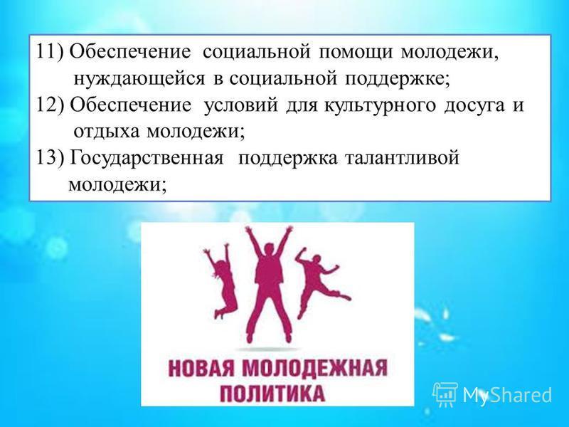 11) Обеспечение социальной помощи молодежи, нуждающейся в социальной поддержке; 12) Обеспечение условий для культурного досуга и отдыха молодежи; 13) Государственная поддержка талантливой молодежи;