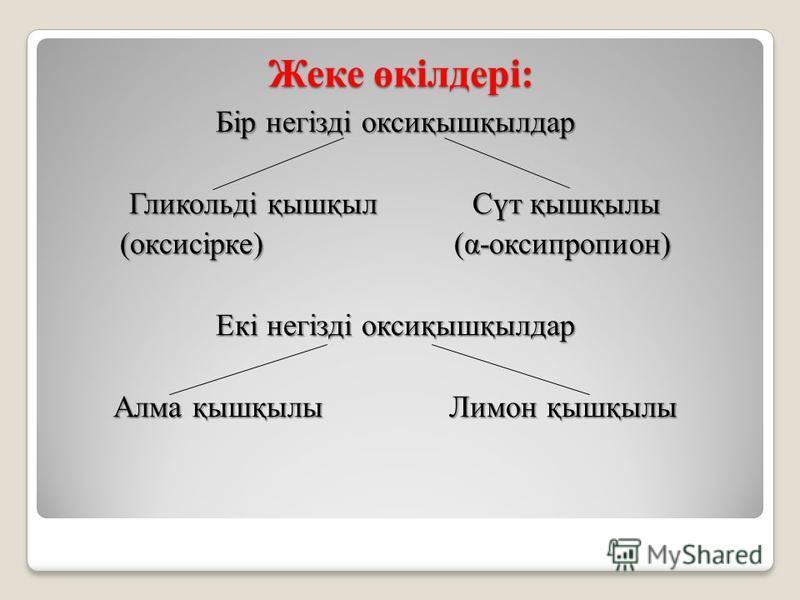 Жеке өкілдері: Бір негізді оксиқышқылдар Гликольді қышқыл Сүт қышқылы (оксисірке) (α-оксипропион) Екі негізді оксиқышқылдар Алма қышқылы Лимон қышқылы