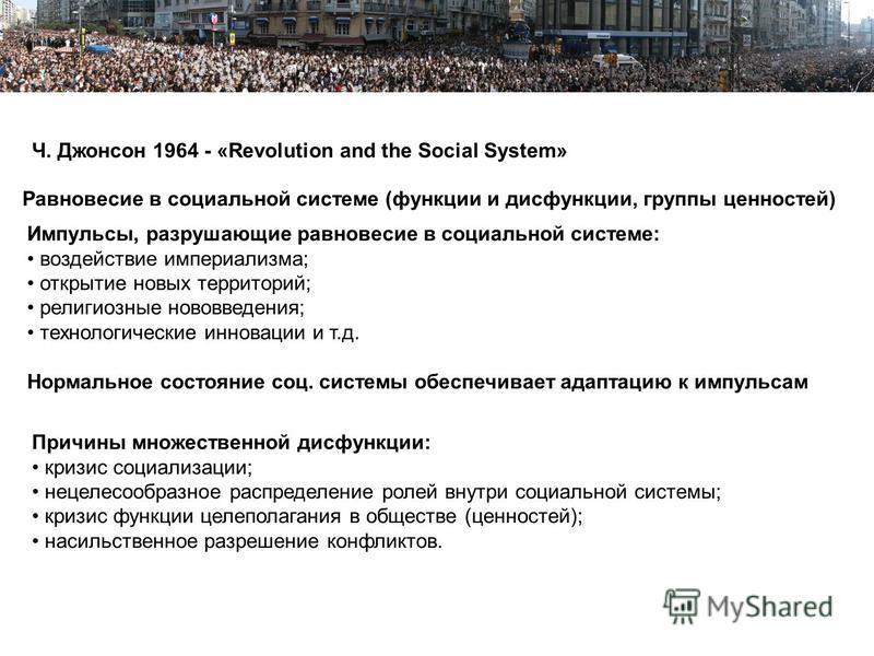Пример Пример структуры презентации Ч. Джонсон 1964 - «Revolution and the Social System» Импульсы, разрушающие равновесие в социальной системе: воздействие империализма; открытие новых территорий; религиозные нововведения; технологические инновации и