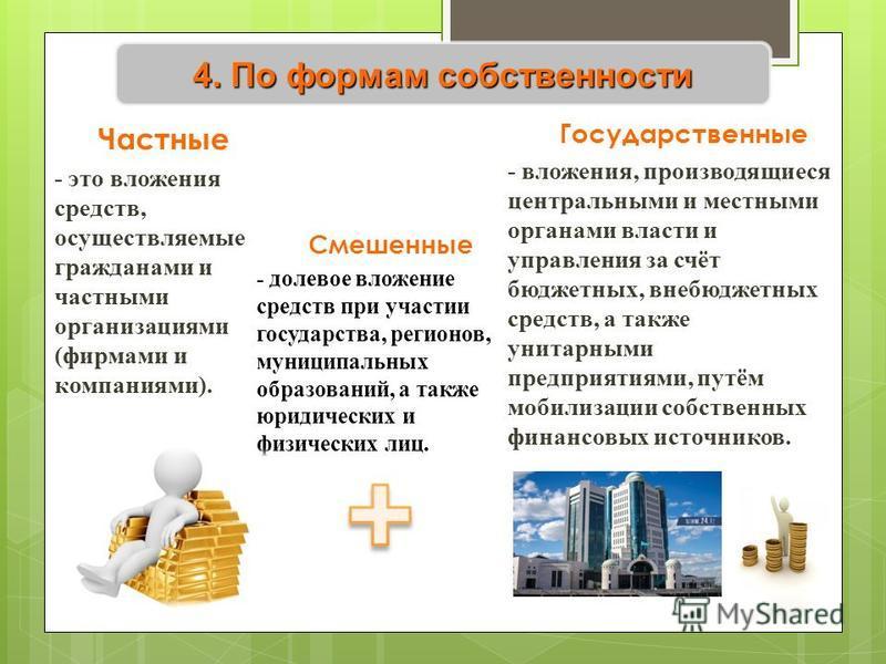 4. По формам собственности Частные - это вложения средств, осуществляемые гражданами и частными организациями (фирмами и компаниями). Государственные - вложения, производящиеся центральными и местными органами власти и управления за счёт бюджетных, в