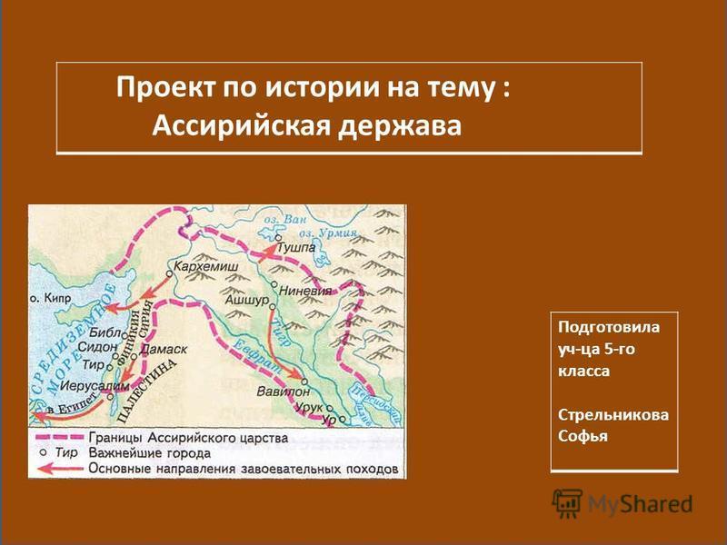 Проект по истории на тему : Ассирийская держава Подготовила уч-ца 5-го класса Стрельникова Софья
