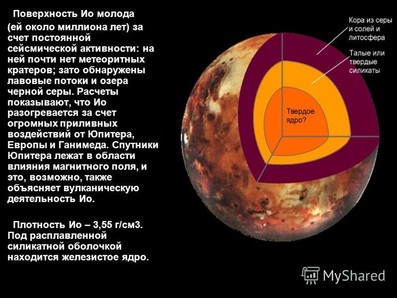 Поверхность Ио молода (ей около миллиона лет) за счет постоянной сейсмической активности: на ней почти нет метеоритных кратеров; зато обнаружены лавовые потоки и озера черной серы. Расчеты показывают, что Ио разогревается за счет огромных приливных в