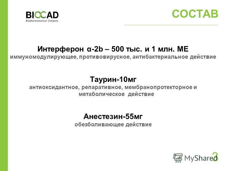 3 СОСТАВ Интерферон α-2b – 500 тыс. и 1 млн. МЕ иммуномодулирующее, противовирусное, антибактериальное действие Таурин-10 мг антиоксидантное, репаративное, мембранопротекторное и метаболическое действие Анестезин-55 мг обезболивающее действие