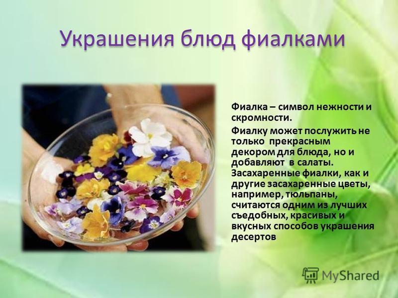 Украшения блюд фиалками Фиалка – символ нежности и скромности. Фиалку может послужить не только прекрасным декором для блюда, но и добавляют в салаты. Засахаренные фиалки, как и другие засахаренные цветы, например, тюльпаны, считаются одним из лучших