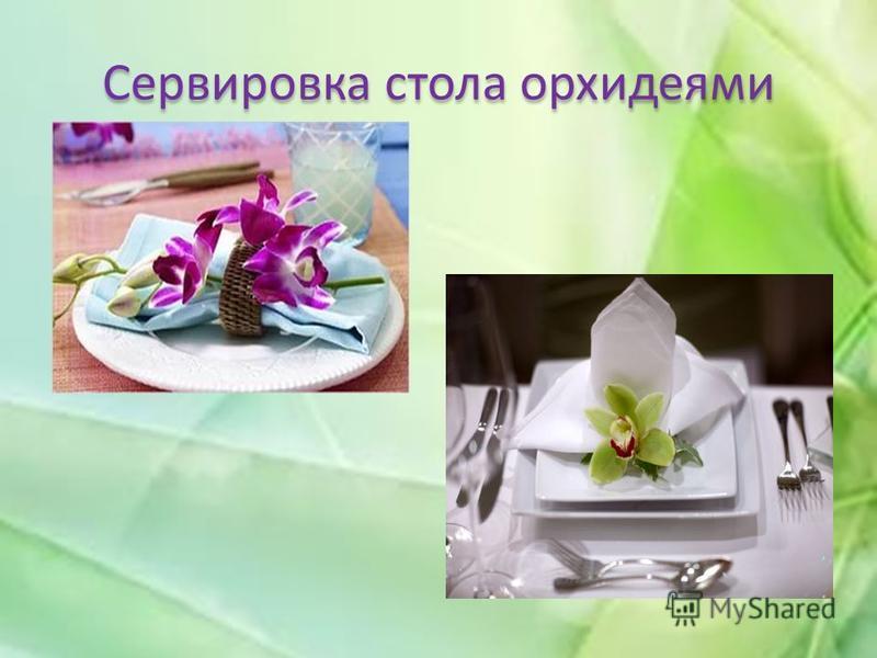 Сервировка стола орхидеями