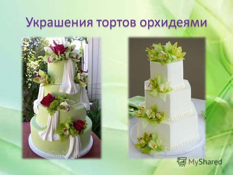 Украшения тортов орхидеями