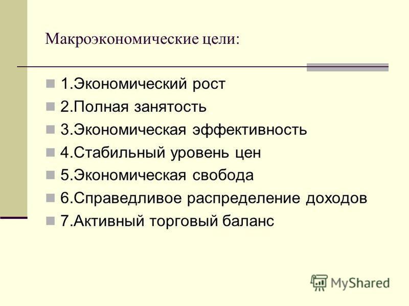 Макроэкономические цели: 1. Экономический рост 2. Полная занятость 3. Экономическая эффективность 4. Стабильный уровень цен 5. Экономическая свобода 6. Справедливое распределение доходов 7. Активный торговый баланс