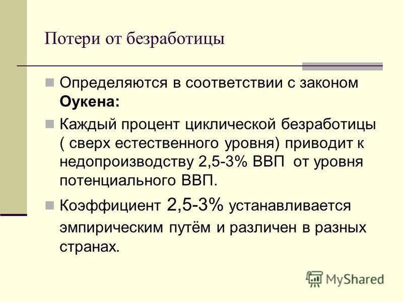 Потери от безработицы Определяются в соответствии с законом Оукена: Каждый процент циклической безработицы ( сверх естественного уровня) приводит к недопроизводству 2,5-3% ВВП от уровня потенциального ВВП. Коэффициент 2,5-3% устанавливается эмпиричес