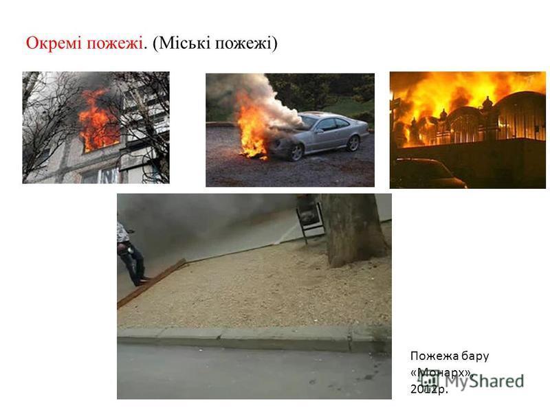 Окремі пожежі. (Міські пожежі) Пожежа бару «Монарх», 2012р.