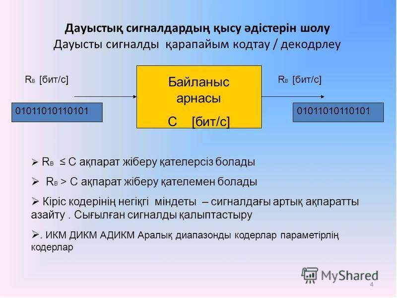 4 Дауыстық сигналдардың қысу әдістерін шолу Дауысты сигналды қарапайым кодтау / декодрлеу Байланыс арнасы С [бит/с] 01011010110101 R B [бит/с] R В С ақпарат жiберу қателерсiз болады R В > С ақпарат жiберу қателемен болады Кіріс кодерінің негіқгі мінд