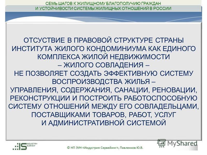 © НП ЭУН «Индустрия Сервейинг», Павленков Ю.В. ОТСУСТВИЕ В ПРАВОВОЙ СТРУКТУРЕ СТРАНЫ ИНСТИТУТА ЖИЛОГО КОНДОМИНИУМА КАК ЕДИНОГО КОМПЛЕКСА ЖИЛОЙ НЕДВИЖИМОСТИ – ЖИЛОГО СОВЛАДЕНИЯ – НЕ ПОЗВОЛЯЕТ СОЗДАТЬ ЭФФЕКТИВНУЮ СИСТЕМУ ВОСПРОИЗВОДСТВА ЖИЛЬЯ – УПРАВЛЕ