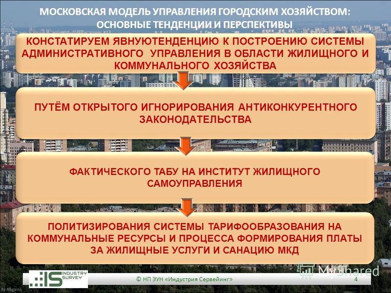 © НП ЭУН «Индустрия Сервейинг» 4 КОНСТАТИРУЕМ ЯВНУЮТЕНДЕНЦИЮ К ПОСТРОЕНИЮ СИСТЕМЫ АДМИНИСТРАТИВНОГО УПРАВЛЕНИЯ В ОБЛАСТИ ЖИЛИЩНОГО И КОММУНАЛЬНОГО ХОЗЯЙСТВА МОСКОВСКАЯ МОДЕЛЬ УПРАВЛЕНИЯ ГОРОДСКИМ ХОЗЯЙСТВОМ: ОСНОВНЫЕ ТЕНДЕНЦИИ И ПЕРСПЕКТИВЫ ПУТЁМ ОТК