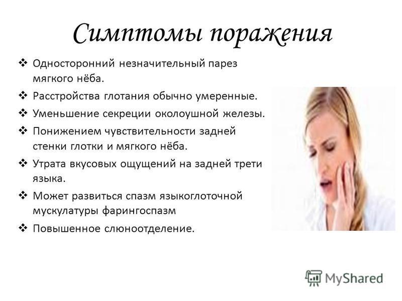 Симптомы поражения Односторонний незначительный парез мягкого нёба. Расстройства глотания обычно умеренные. Уменьшение секреции околоушной железы. Понижением чувствительности задней стенки глотки и мягкого нёба. Утрата вкусовых ощущений на задней тре