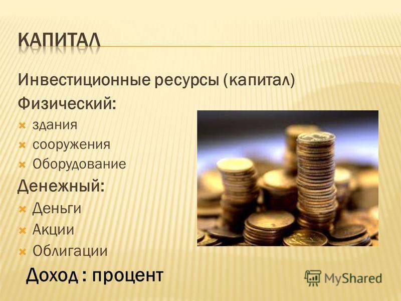 Инвестиционные ресурсы (капитал) Физический: здания сооружения Оборудование Денежный: Деньги Акции Облигации Доход : процент