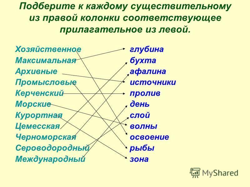 Подберите к каждому существительному из правой колонки соответствующее прилагательное из левой. Хозяйственное Максимальная Архивные Промысловые Керченский Морские Курортная Цемесская Черноморская Сероводородный Международный глубина бухта афалина ист