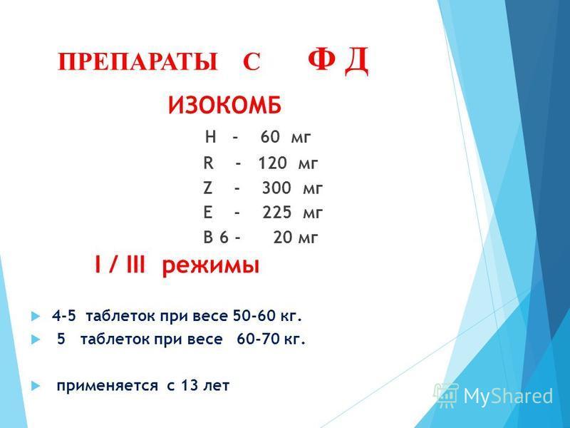 ПРЕПАРАТЫ С Ф Д ИЗОКОМБ H - 60 мг R - 120 мг Z - 300 мг E - 225 мг В 6 - 20 мг I / III режимы 4-5 таблеток при весе 50-60 кг. 5 таблеток при весе 60-70 кг. применяется с 13 лет