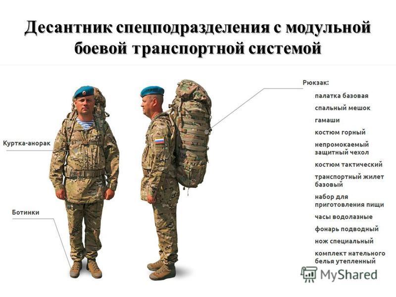 Десантник спецподразделения с модульной боевой транспортной системой