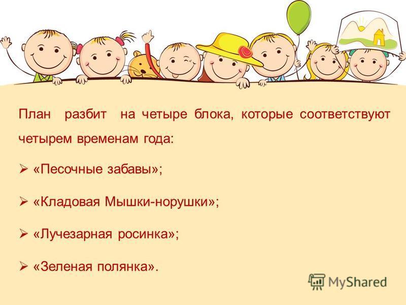 План разбит на четыре блока, которые соответствуют четырем временам года: «Песочные забавы»; «Кладовая Мышки-норушки»; «Лучезарная росинка»; «Зеленая полянка».