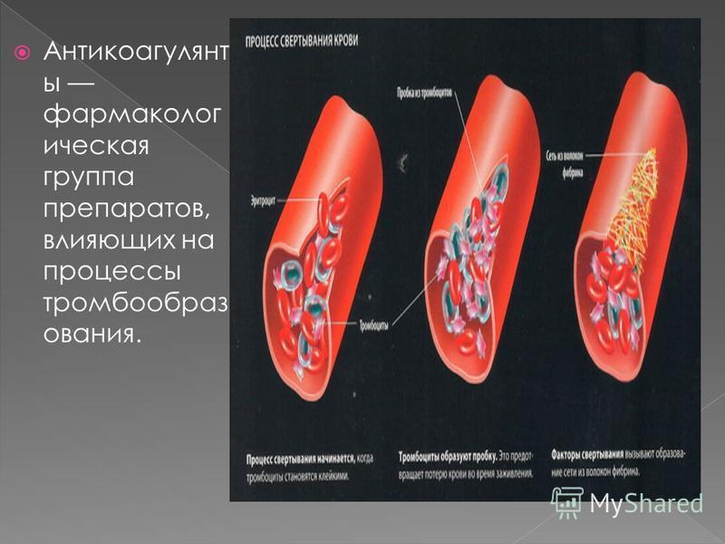 Антикоагулянт ы фармакологическая группа препаратов, влияющих на процессы тромбообразования.