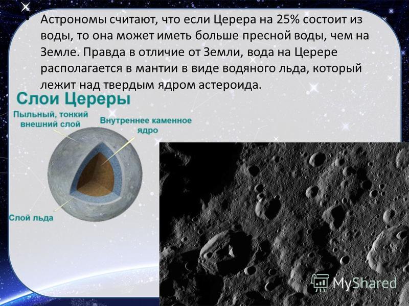 Астрономы считают, что если Церера на 25% состоит из воды, то она может иметь больше пресной воды, чем на Земле. Правда в отличие от Земли, вода на Церере располагается в мантии в виде водяного льда, который лежит над твердым ядром астероида.