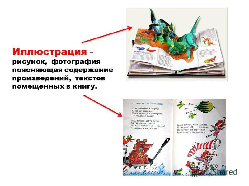 Иллюстрация – рисунок, фотография поясняющая содержание произведений, текстов помещенных в книгу.