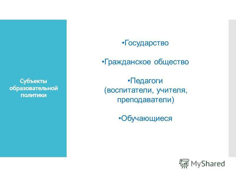 Субъекты образовательной политики Государство Гражданское общество Педагоги (воспитатели, учителя, преподаватели) Обучающиеся
